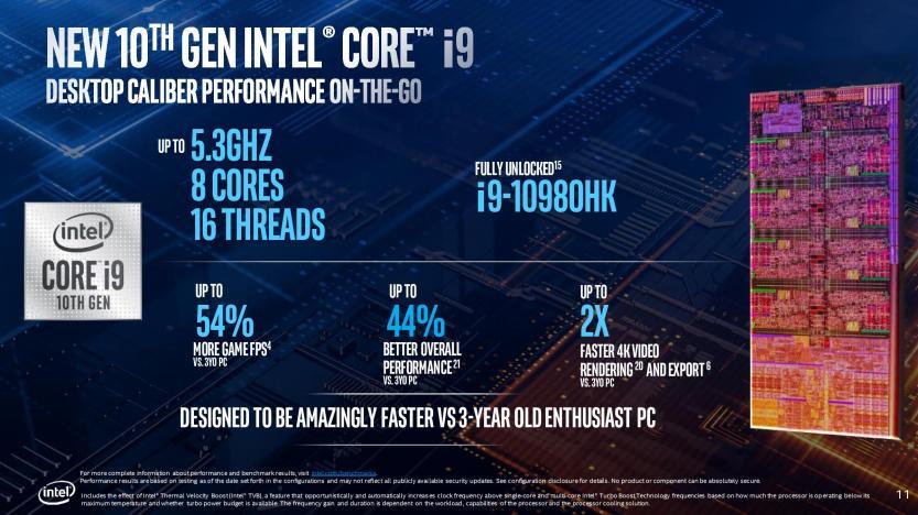 Lancio Intel Comet Lake 10 generazione dettagli i9-10980HK