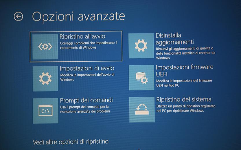 Opzioni avanzate impostazioni avvio windows 10