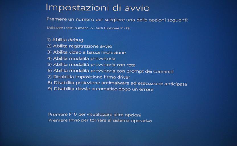 menu selezione impostazioni di avvio windows 10 modalita provvisoria