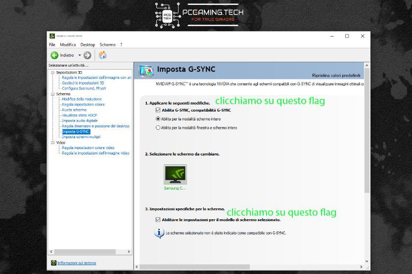 pannello controllo NVIDIA abilitazione Freesync compatibile