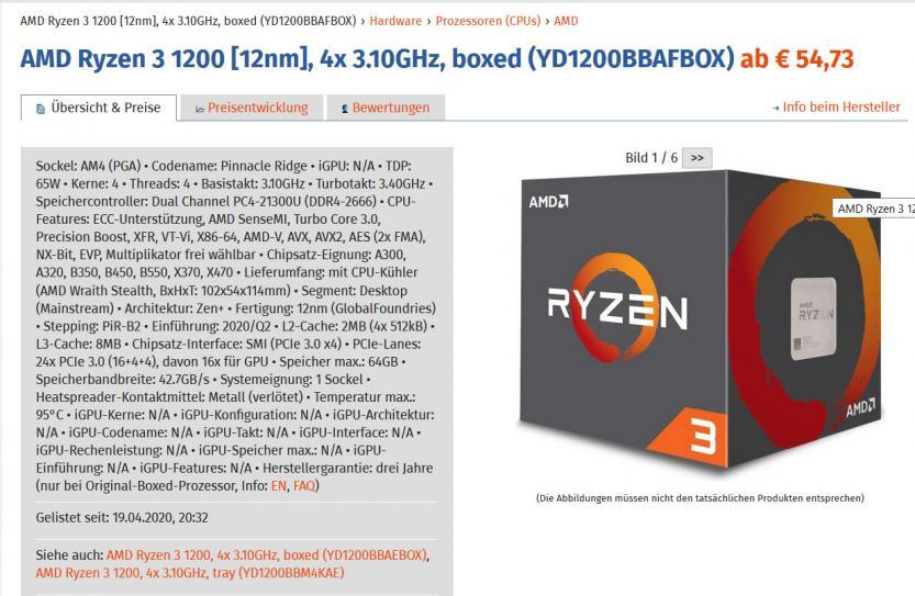 CPU AMD Ryzen 1200 AF Zen+ Pinnacle bridge