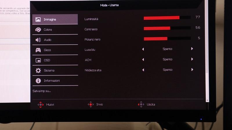 Aopen 32hc1qurpbidpx menu completo delle impostazioni