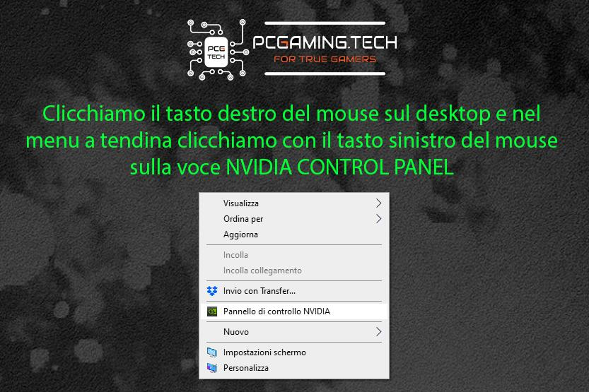 apertura menu NVIDIA pannello di controlla da desktop