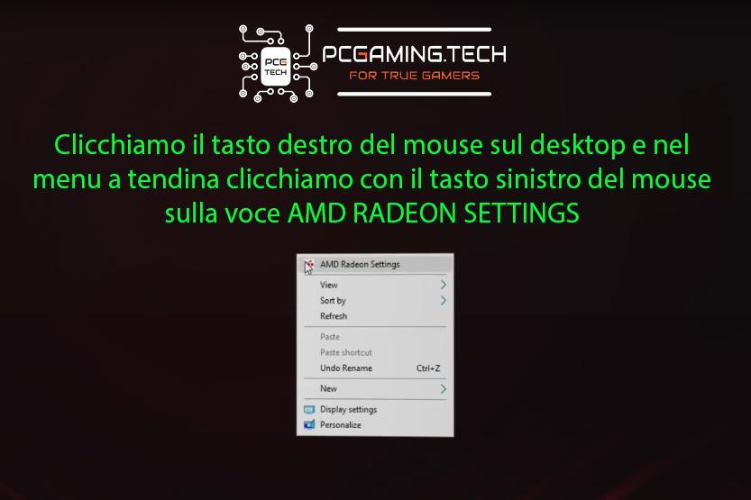 Apertura menu AMD RADEON da desktop