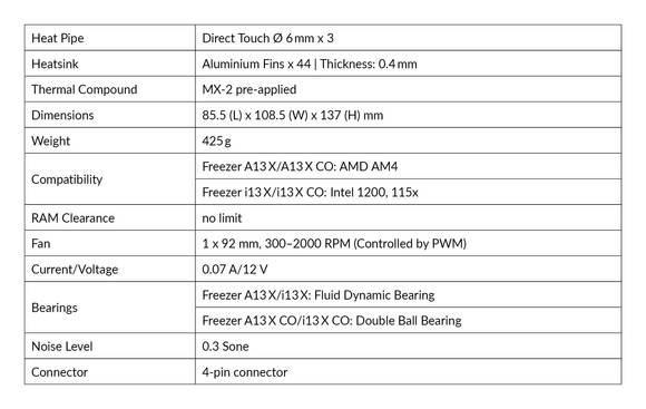 arctic freezer 13x performance specs