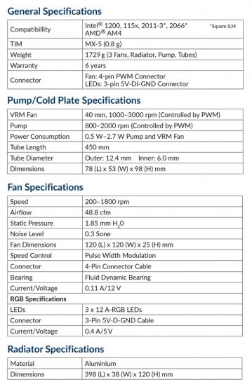 artic freezer liquid ii 360 argb specs