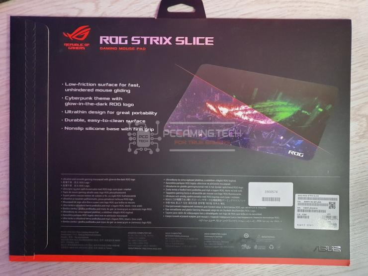 lato posteriore confezione mousepad ROG Strix Slice