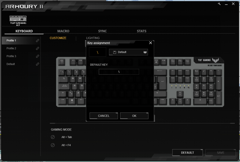 Asus Tuf gaming k7 armoury ii software key assign