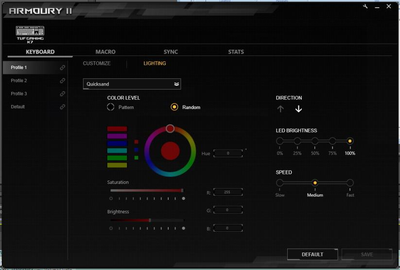 Asus Tuf gaming k7 armoury ii software rgb led illumination