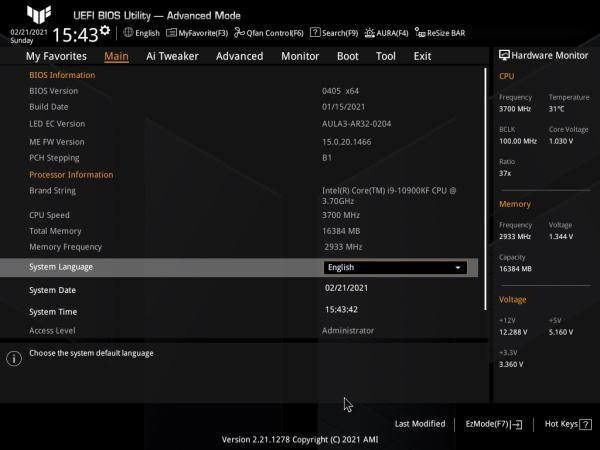 asus tuf z590 plus wifi bios advanced mode main