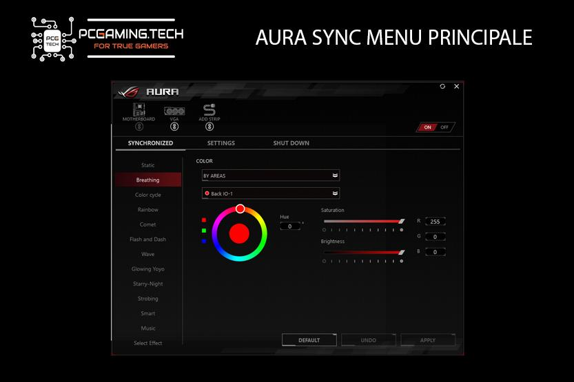 main menu software aura sync