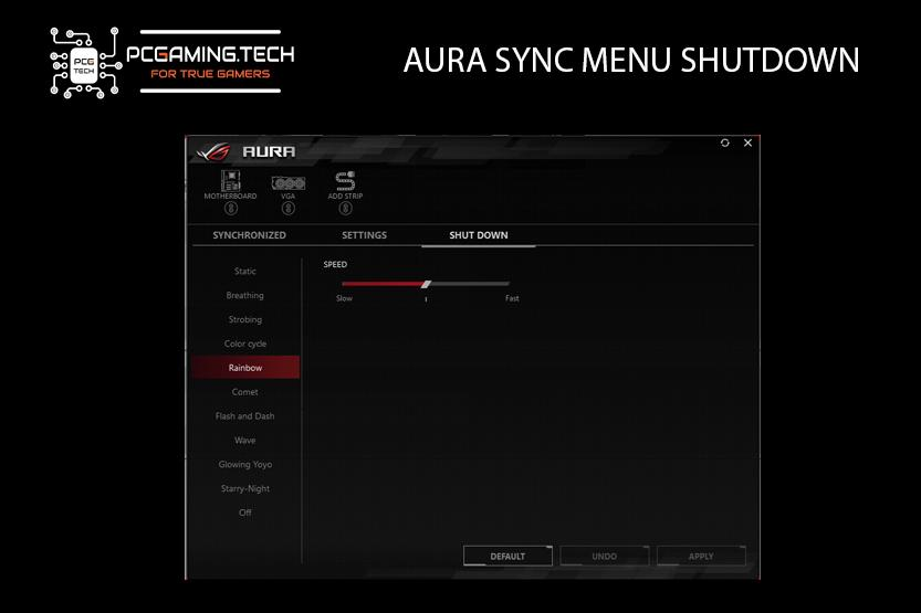 dettaglio menu aura sync shutdown