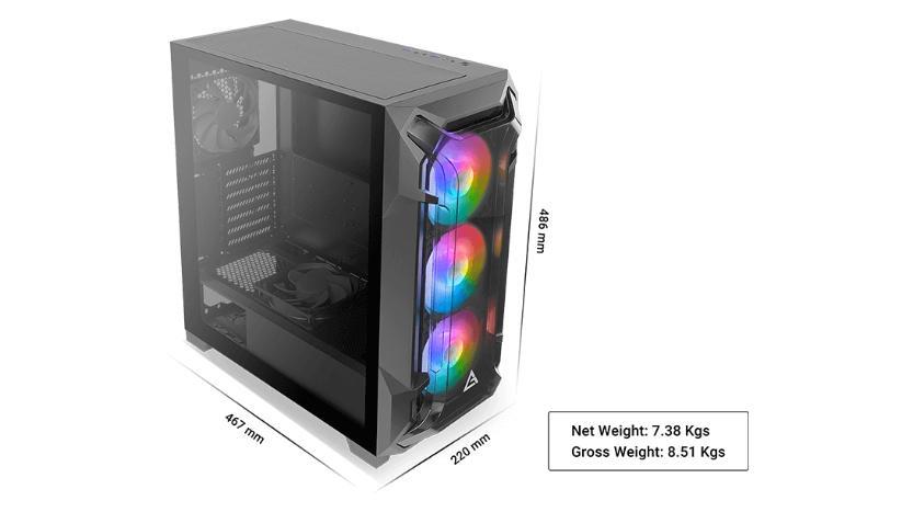 case pc gaming antec df600 flux mid tower dimensioni e peso