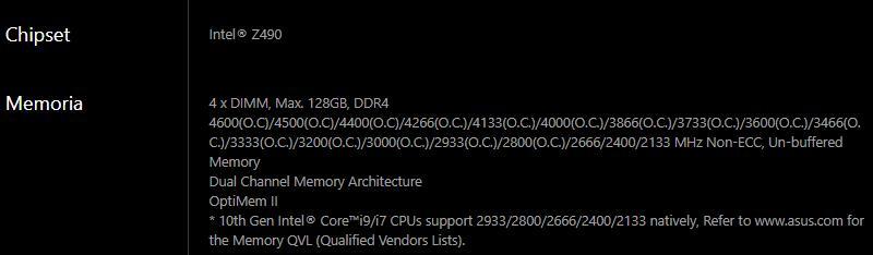 compatibilita memoria con scheda madre asus rog strix z490 e gaming ddr4