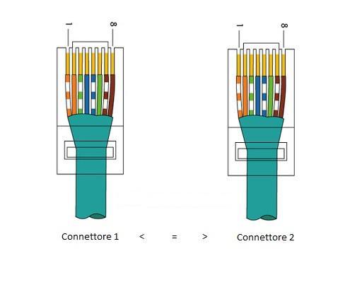 schema connettori cavo di rete dritto o diretto