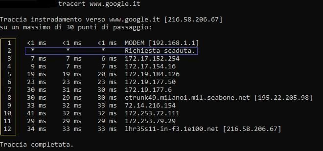 promt dei comandi di MS-DOS trace route