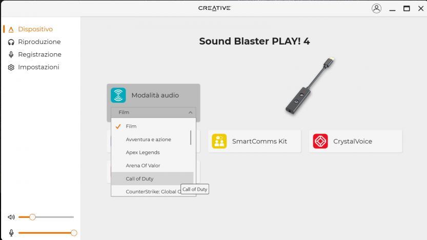 creative sound blaster play 4 creative app modalita audio
