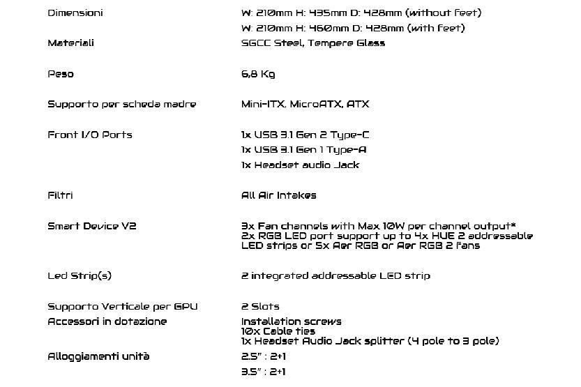 dati tecnici case nzxt h510i