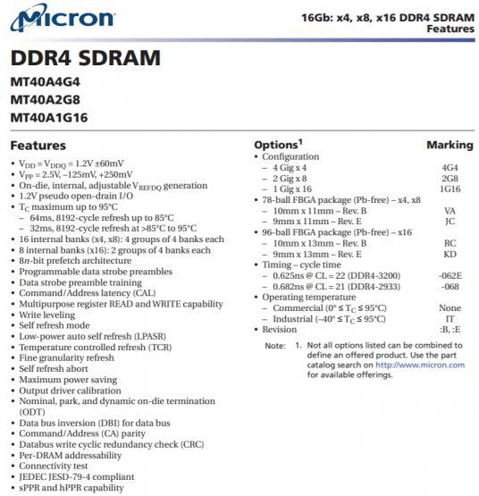 ddr4 micron d9zfv mt40a2g8jc 062e