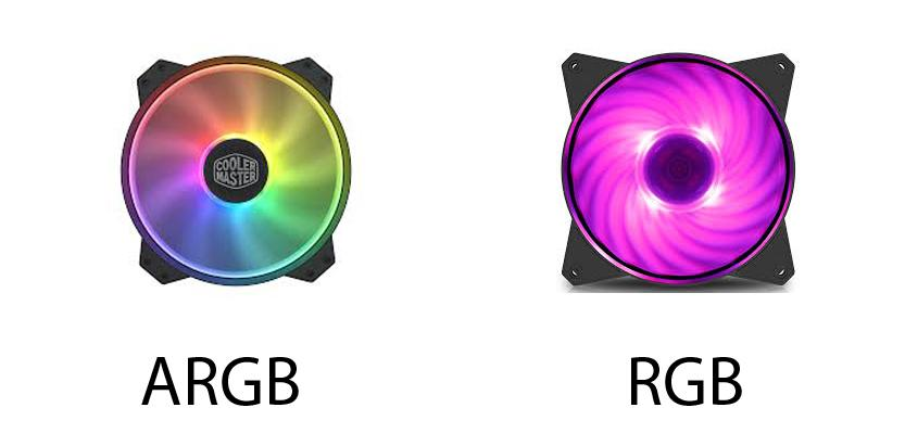 Differenza visiva ventola con led ARGB e ventola RGB
