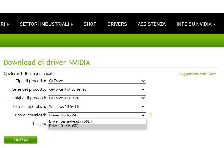 driver disponibili nvidia