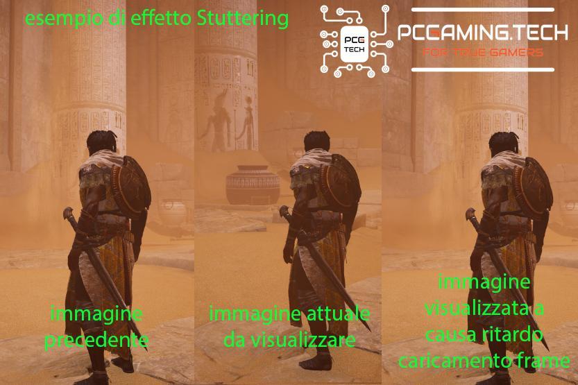 esempio visivo di difetto stuttering monitor pc gaming