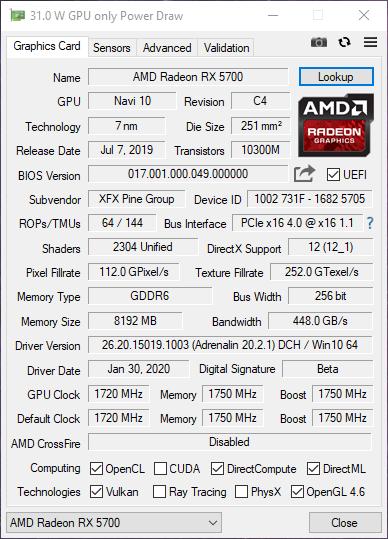 XFX RX 5700 DD ULTRA dettagli GPUZ