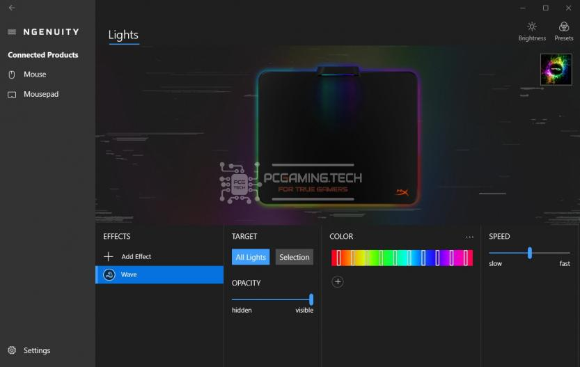Software HyperX NGENUITY mouse pad light rgb led