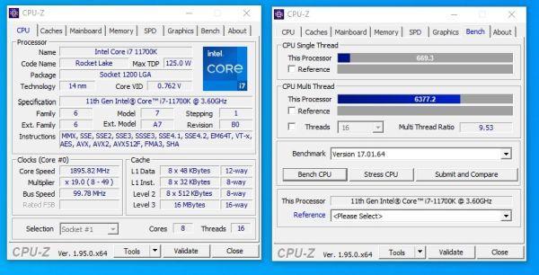 intel core i7 11700k cpuz rumor