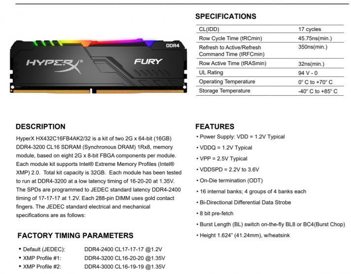 kingston hyperx fury ddr4 rgb 32 gb 3200 mhz cl16