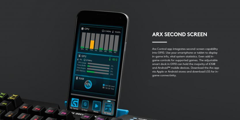 Logitech G902 Gaming Keyboard ARX Second Screen in action