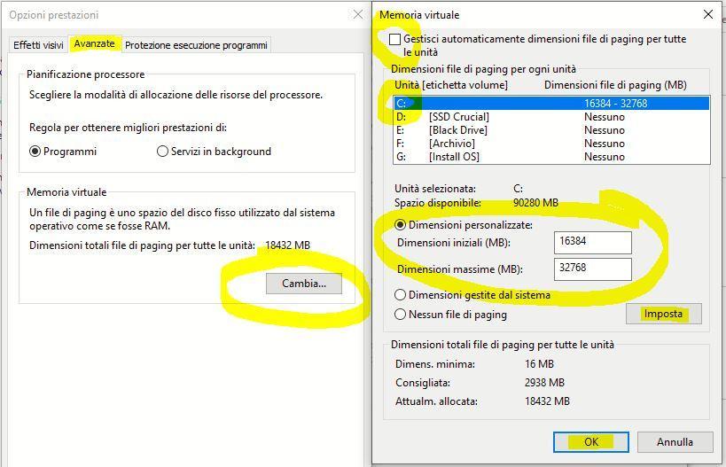 configurazione file di paging 2