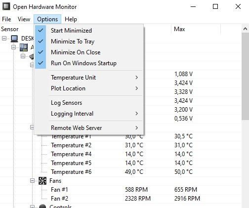menu open hardware monitor
