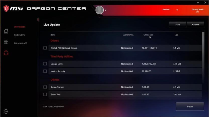 msi center bios update