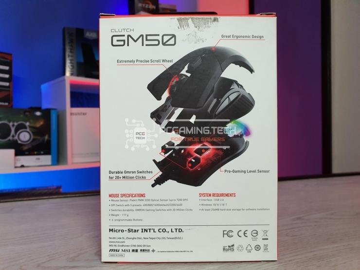 retro della confezione dell'MSI Clutch GM50