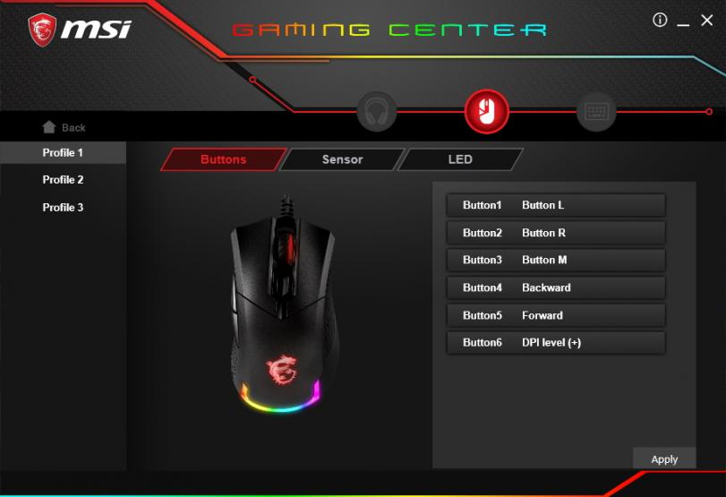 MSI Gaming Center impostazione bottoni