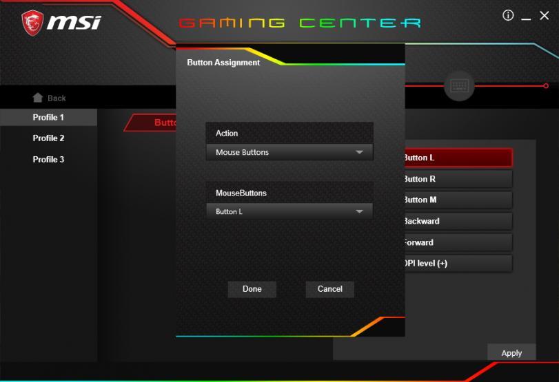 MSI Gaming Center impostazioni bottoni nel dettaglio