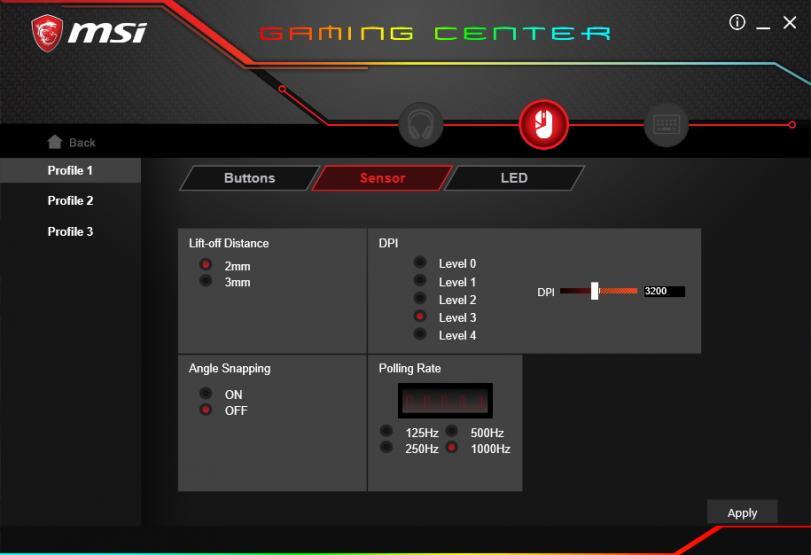 MSI Gaming Center impostazioni sensore
