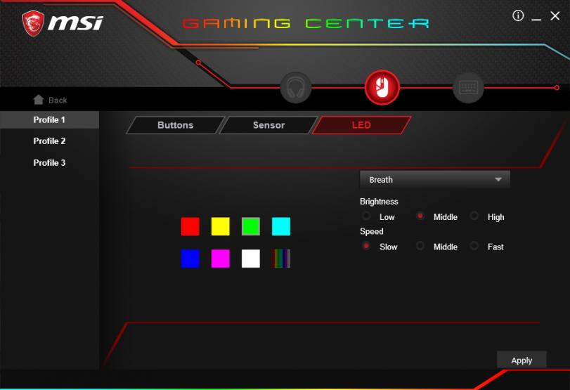 MSI Gaming Center impostazioni LED