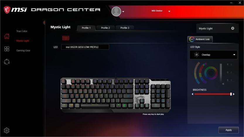 MSI Vigor GK50 Low Profile MSI DRAGON CENTER CONTROLLO ILLUMINAZIONE RGB