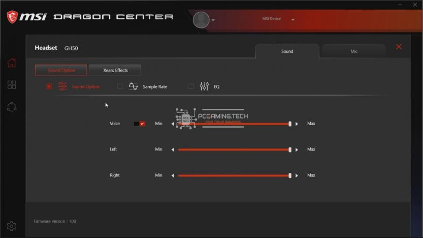Gaming Gear Sound Option menù MSI Dragon Center