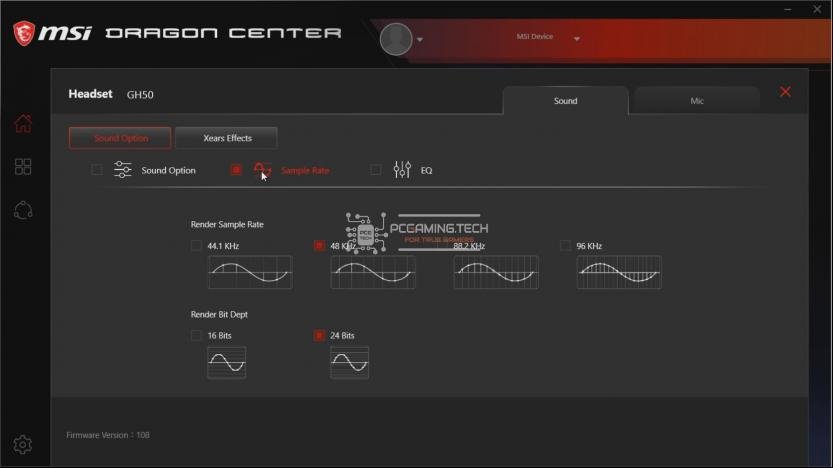 Sample Rate Gaming Gear MSI Dragon Center menù