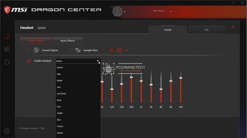 Equalizer Gaming Gear MSI Dragon Center menù