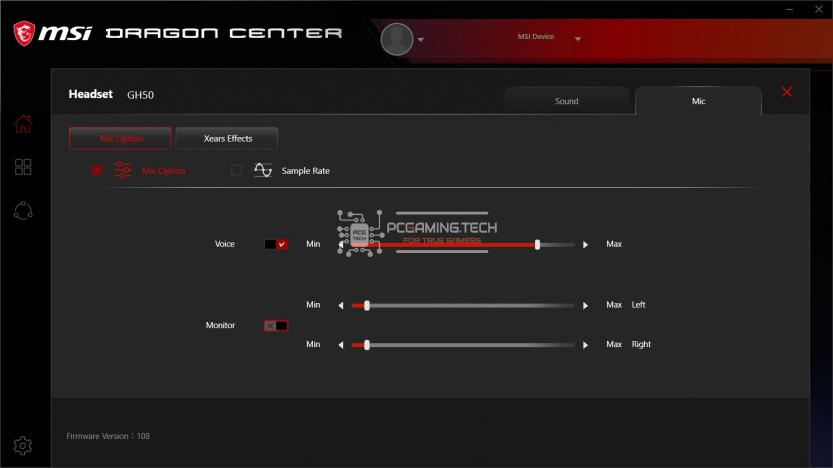 Mic Option Gaming Gear MSI Dragon Center