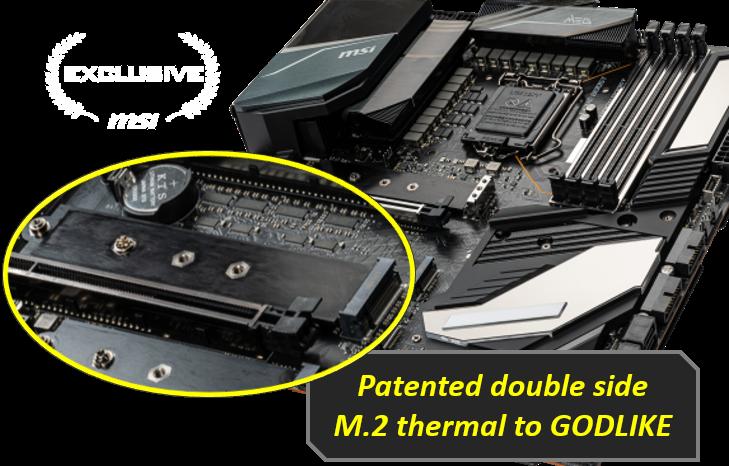 MSI motherboard serie meg z490 godlike double side m2 thermal