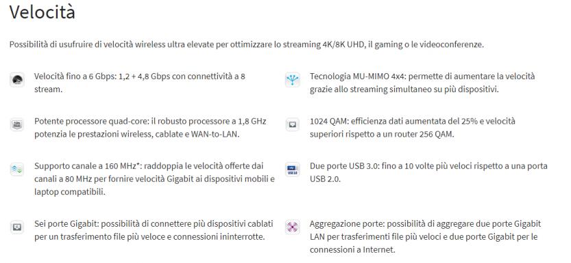 immagine descrizione features relative alla velocita di trasmissione dati
