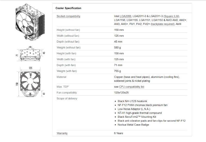 Noctua NH-U12S chromax.black spec tab 1