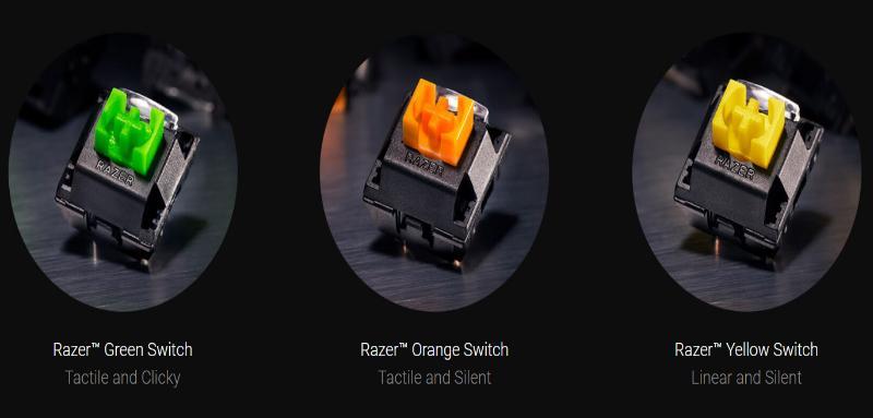 Razer keyboard gaming Switch green, orange yellow
