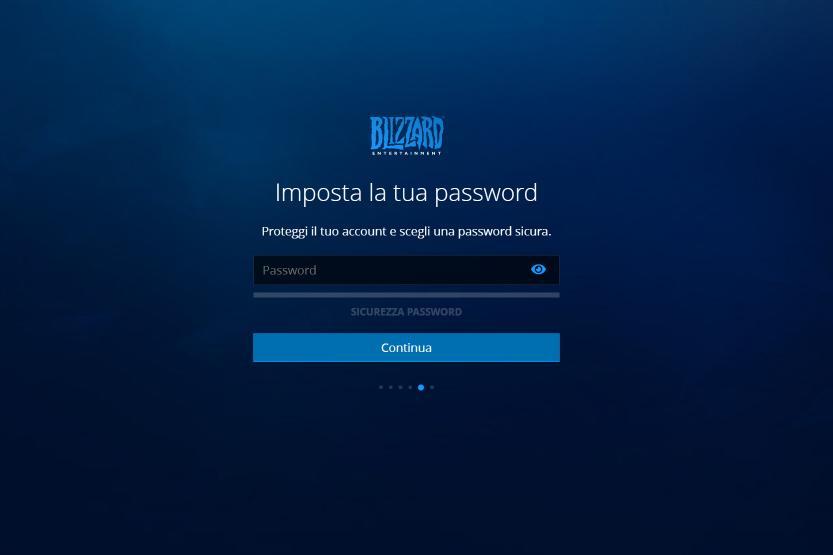 registrazione blizzard inserimento password