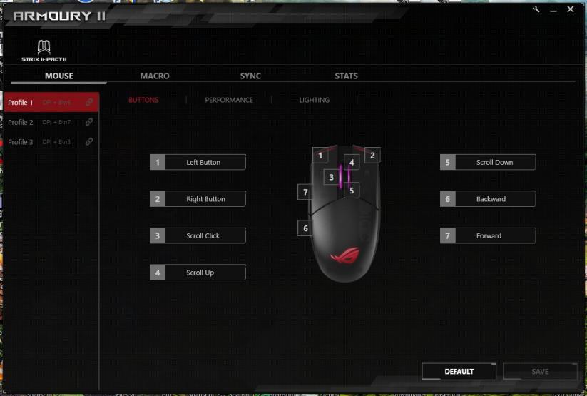 ROG Armoury II configurazione bottoni